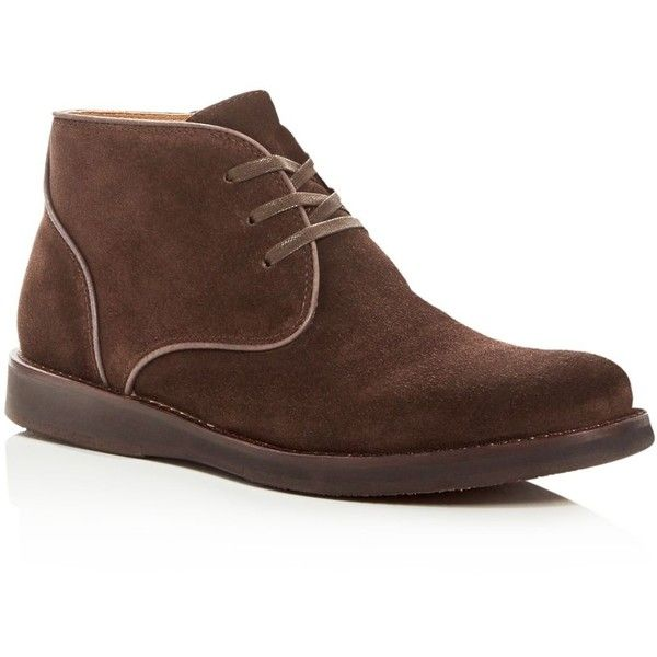 John Varvatos Men's Star Usa Brooklyn Suede Chukka Boots ($228) ❤ liked on Polyvore featuring men's fashion, men's shoes, men's boots, espresso, mens chukka boots, mens suede chukka boots, mens chukka shoes, mens suede boots and mens shoes chukka boots