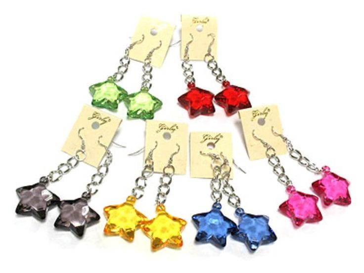 12 x NewJob Lot Facet Acrylic STAR Shape Transparent Clear Earrings DROP Dangle