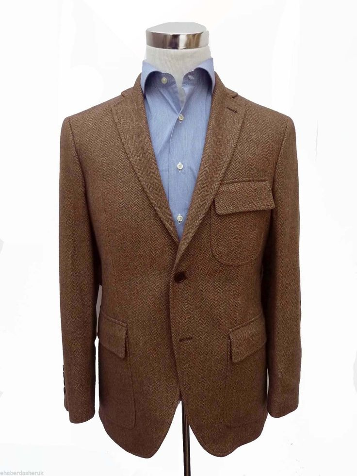 £675 HACKETT LONDON Brown PURE Cashmere Herringbone Blazer Jacket 44R | eBay