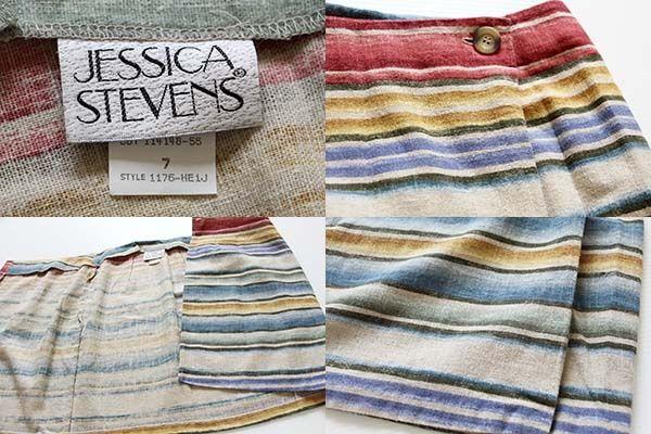画像3: USA製JESSICA STEVENS ラグ柄 リネン混 巻きスカート 7