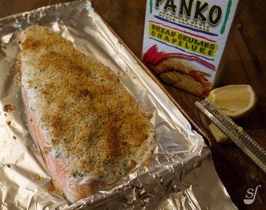 Steph joue au chef: Filet de saumon en croûte panko - sauce yogourt au cari