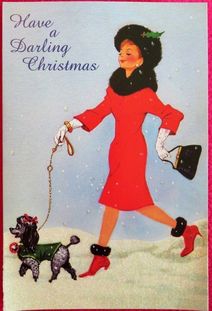 Vintage Style Christmas Card Unused Glitter Mcm Lady Dress Short