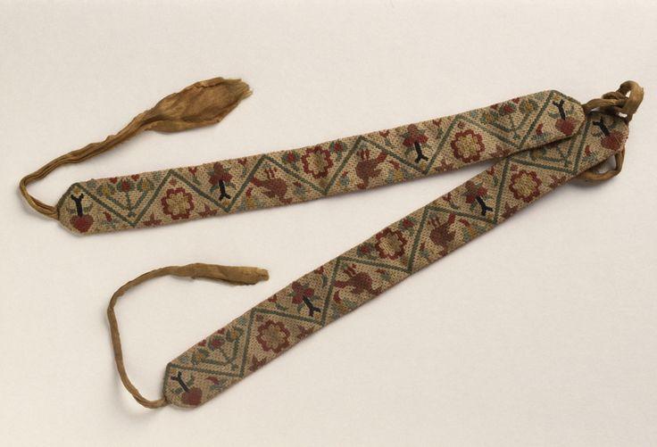 1753 Garters made from wool, linen & silk. Winterthur 1965.2082.001