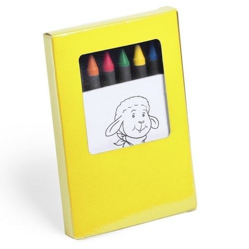 Set de ceras y libretita con dibujos para colorear, 7 piezas. Se puede personalizar y regalar en campañas para niños. #regalospublicitariosbaratos #regalospromocionales #articulospublicidad #regalospersonalizadosbaratos #merchandisingparaempresas