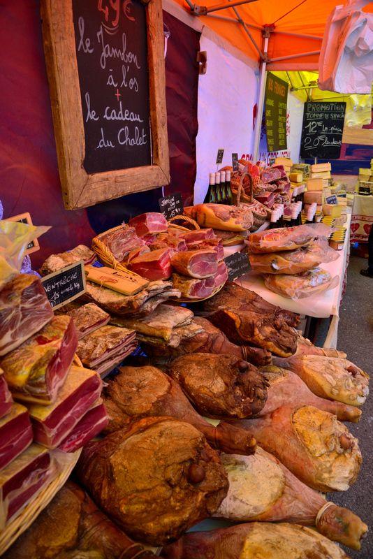 Savoie charcuterie at the Chatel Food Market, Haute Savoie, France