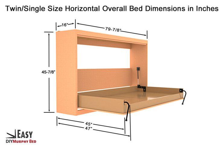 Horizontal Murphy Bed Hardware Kits : Murphy wall bed hardware diy kit horizontal mount
