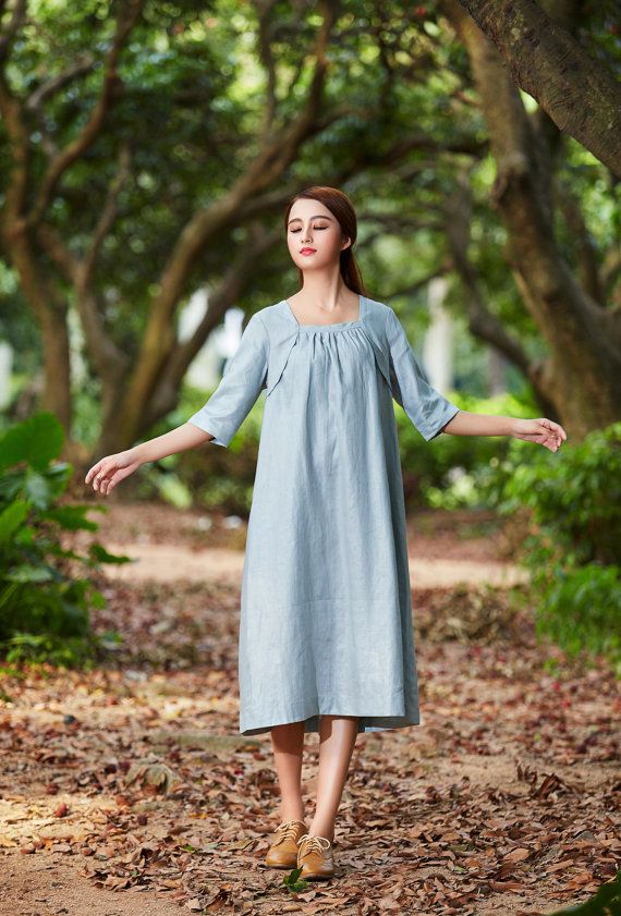 Natural linen tunic dress for women, made in soft and comfortable linen fabric. it works great too when you layer with a legging or a jacket in