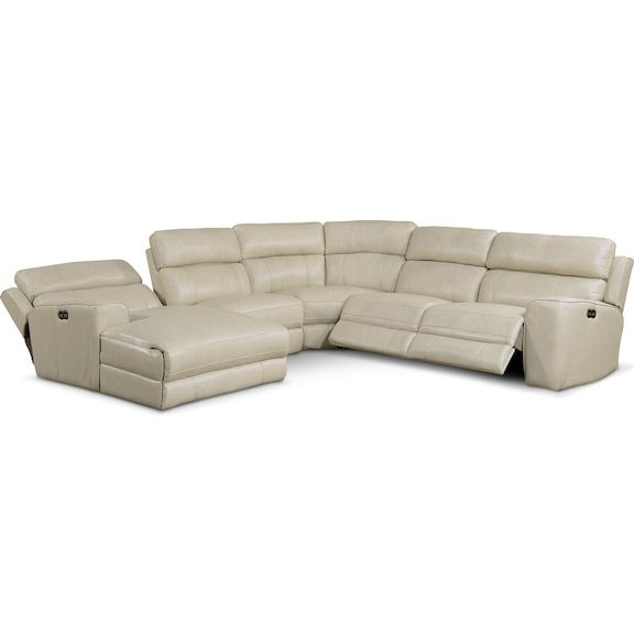 Newport 5 Piece Power Reclining Sectional With Left Facing Chaise And 2 Recliners Cream Value C Left Facing Chaise Reclining Sectional Value City Furniture