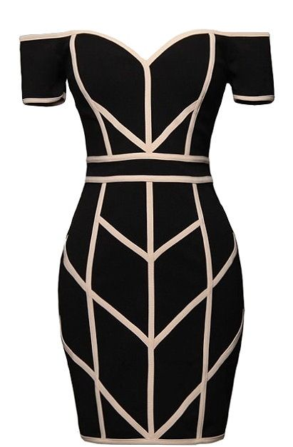 Line Command Dress: Features an expertly tailored off-shoulder design, spellbinding geometric piping throughout, edgy exposed rear zipper, and a beckoning body-conscious silhouette to finish.