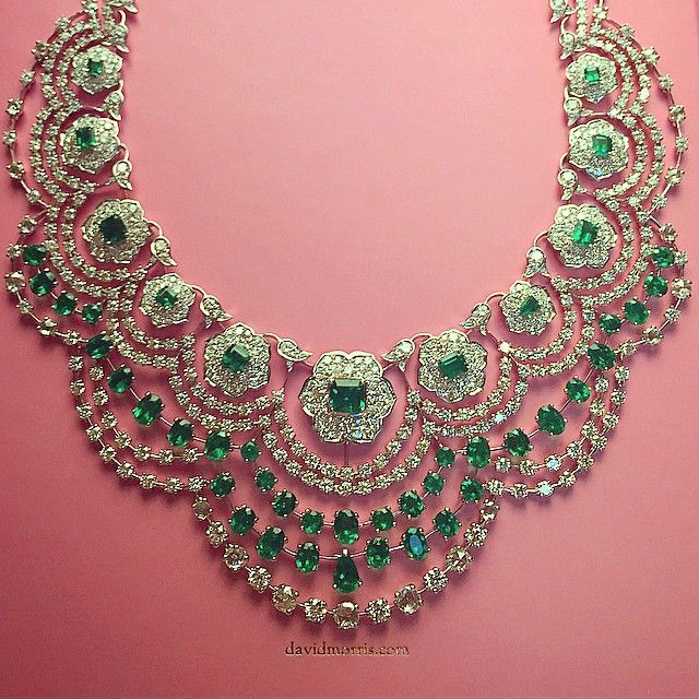 davidmorrisjewellerOur Colombian #emerald and white #diamond Empress necklace