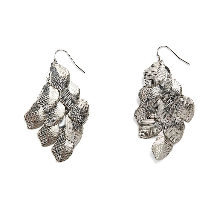 Wear your hair up or down with these textured silver chandelier earrings. Pair them with a flowy maxi for a boho-inspired outfit. (Stitch Fix Hillview Leaf Chandelier Earrings)