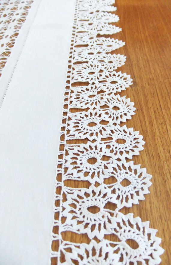 Vintage Crochet Tablecloth - white crocheted table cover - whitework - Tableware. £30.00, via Etsy.