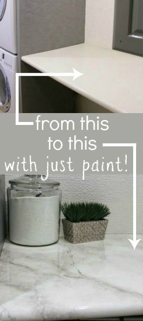 Amazing tutorial -- paint your own faux marble countertops! #remodelaholic
