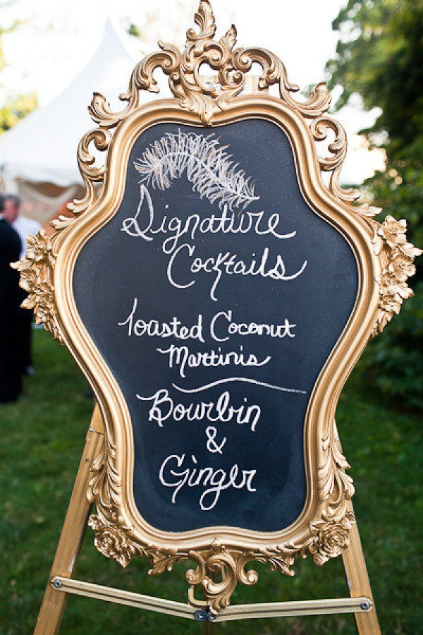 a glamorous version of the wedding chalkboard  Photography by http://rebecca-arthurs.com @Sandy Shiber