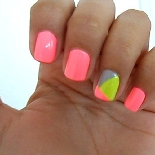 Neon Pink Nails with Abstract Green, Pink, and Grey Accent...