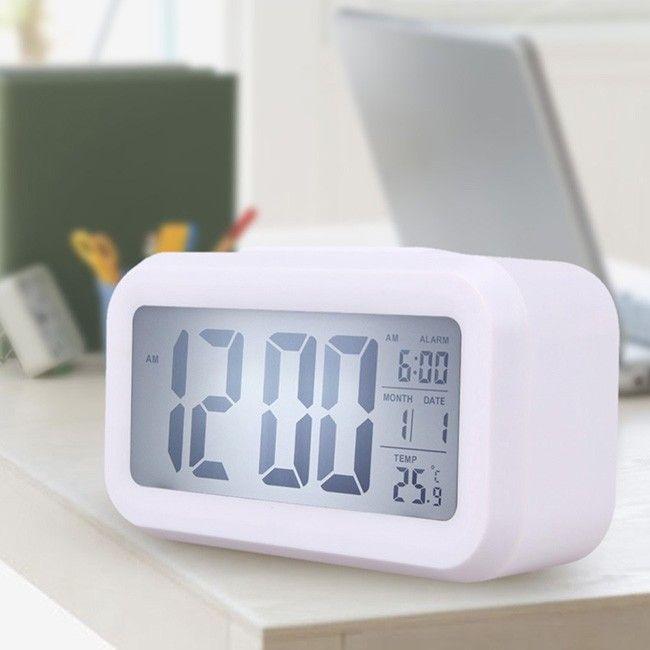 White Digital Backlight Time Date Temperature Display LED Alarm Clock Light-activated Sensor