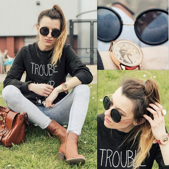 Round Sunglasses, Banggood Watch, Primark Boots, Sweatshirt