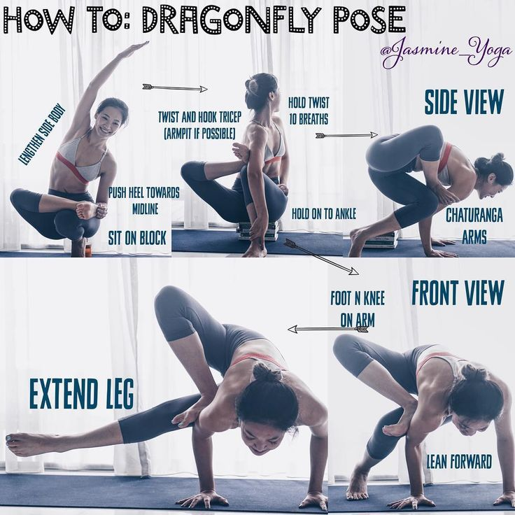#jasmineyogatutorial : #DragonflyPose or #GrasshopperPose  The biggest challenge in this pose is to get your foot high up your arm. There's really no easy around this but to practice more hip openings like all variations of the Pigeon pose.  Tips and tricks  1) Do 90• pigeon n practice bringing your elbows outside foot. If your right leg is in front, bring right elbow outside right foot.  2) If u can bring ur foot high enough, you will have enough space to rest your knee on your elbow which…