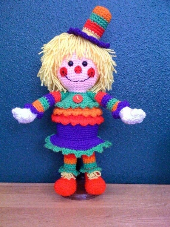 Amigurumi She Makes Me Smile Clown Crochet Pattern http://www.etsy.com/listing/62481699/special-sale-she-makes-me-smile-crochet # Amigurumi, doll, Crochet, clown, pattern