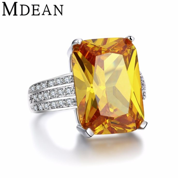 MDEAN White Gold plated big yellow stone Rings For Women CZ diamond jewelry engagement wedding women rings bijoux bague MSR890