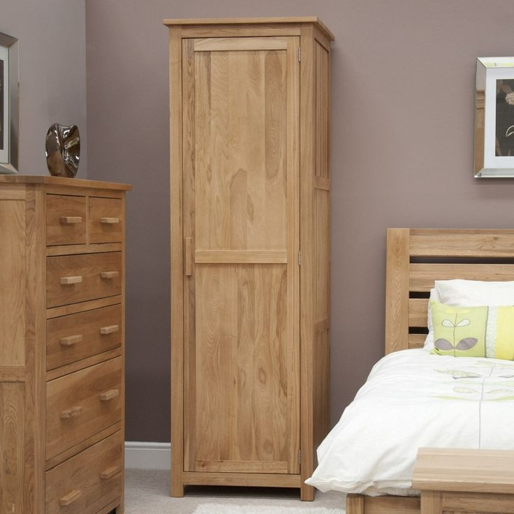 Opus Solid Oak 1 Door Single Wardrobe at Oak Furniture UK. We have a wide  range of solid wood furniture in stock so buy online today!