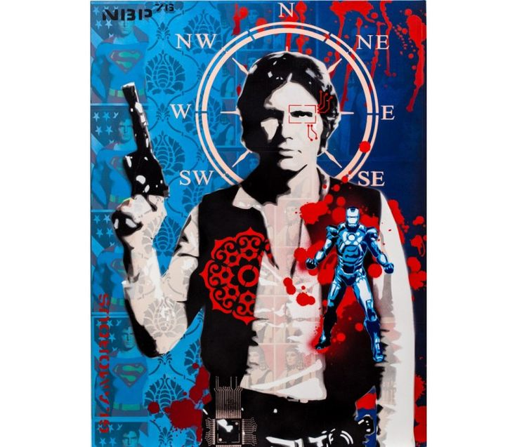 Scoundrel (Blue) | Artist: Brad Novak | Mixed Media of hand-paper-collage and stencil-spray paint on board | Gallerique.com