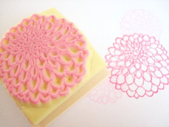 Dahlia stamp Flower wedding DIY wedding by JapaneseRubberStamps, £8.00