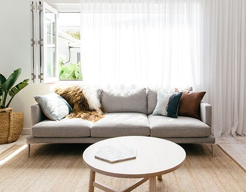 From Project 82.  With its deep and comfortable seating, the Lennon invites you to relax. It  offers a well-engineered design that appears to float on elegant brushed  aluminium or powder coated legs, functional yet stylish. Available in  shallow and deep sizing.  All Staple&Co sofas are made locally in Sydney. They are available in a  range of standard sizes and configurations and can be covered in the fabric  or leather of your choice.  Each sofa is backed by a 10 year ...