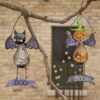 solar hanging decoration metal cutouts wire frame and glass body built in clear - Solar Halloween Decorations