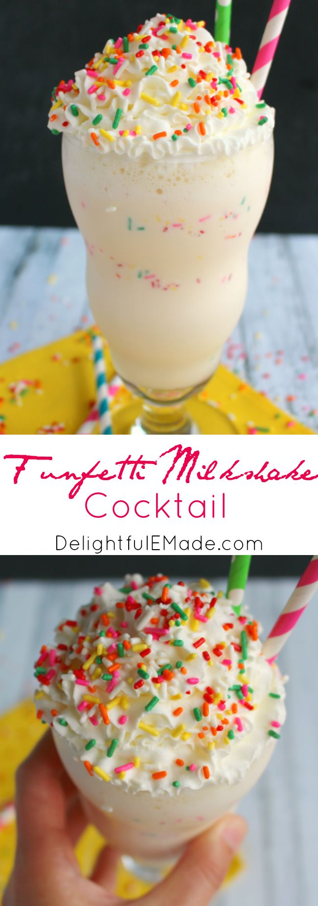 Want to celebrate with a fun, delicious drink?  Made with creamy, delicious vanilla ice cream, lots of sprinkles and a few other goodies, this can be a cocktail or dessert that everyone will love!