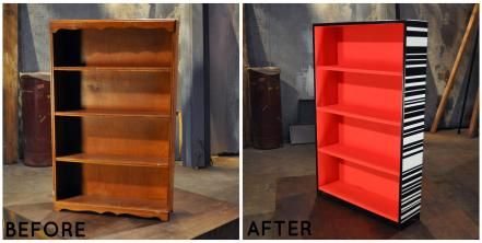 Spray paint, block aging, a paint gun and mercury glass transformed this bookshelf from old to new.