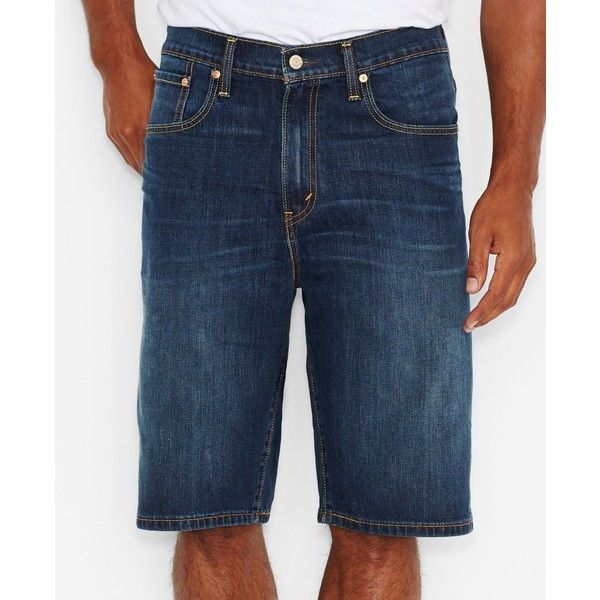 Levi's Men's Big & Tall 569 Loose-Straight Fit Stretch Denim Shorts ($35) ❤ liked on Polyvore featuring men's fashion, men's clothing, men's activewear, men's activewear shorts and homespun rinse