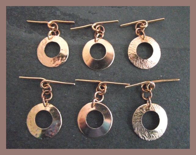 Small Solid Bronze hand forged toggle clasp - choice of finish £4.50