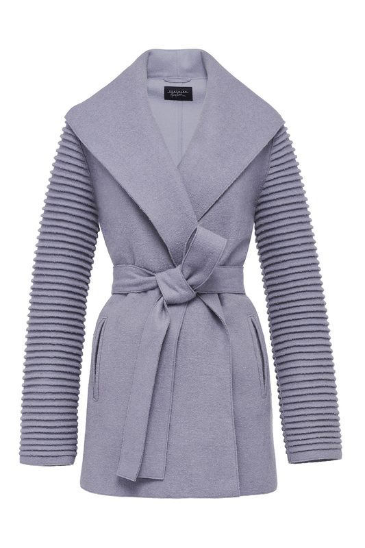 Sentaler Shawl Collar Wrap Coat with Ribbed Sleeves. Click for more details