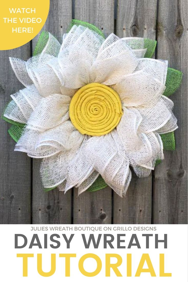 Handmade spring burlap daisy wreath. Full step by step tutorial by Julies Wreath Boutique