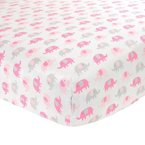 "Carter's Sateen Pink & Grey Elephant Crib Sheet - Carter's - Babies ""R"" Us"