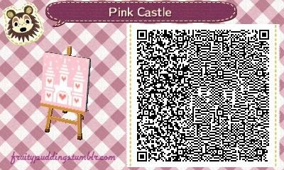 """fruitypuddings: """" Here is a pretty pastel castle that I made, I'm currently using it as my town flag. I've got quite a few qr codes for you New Leaf fans out there, so stay tuned! (∩_∩) """""""