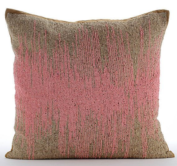 """Pink Beaded Ombre Pillows Cover, Art Silk Pillow Covers 18""""X18"""" - Pink Phenomena"""