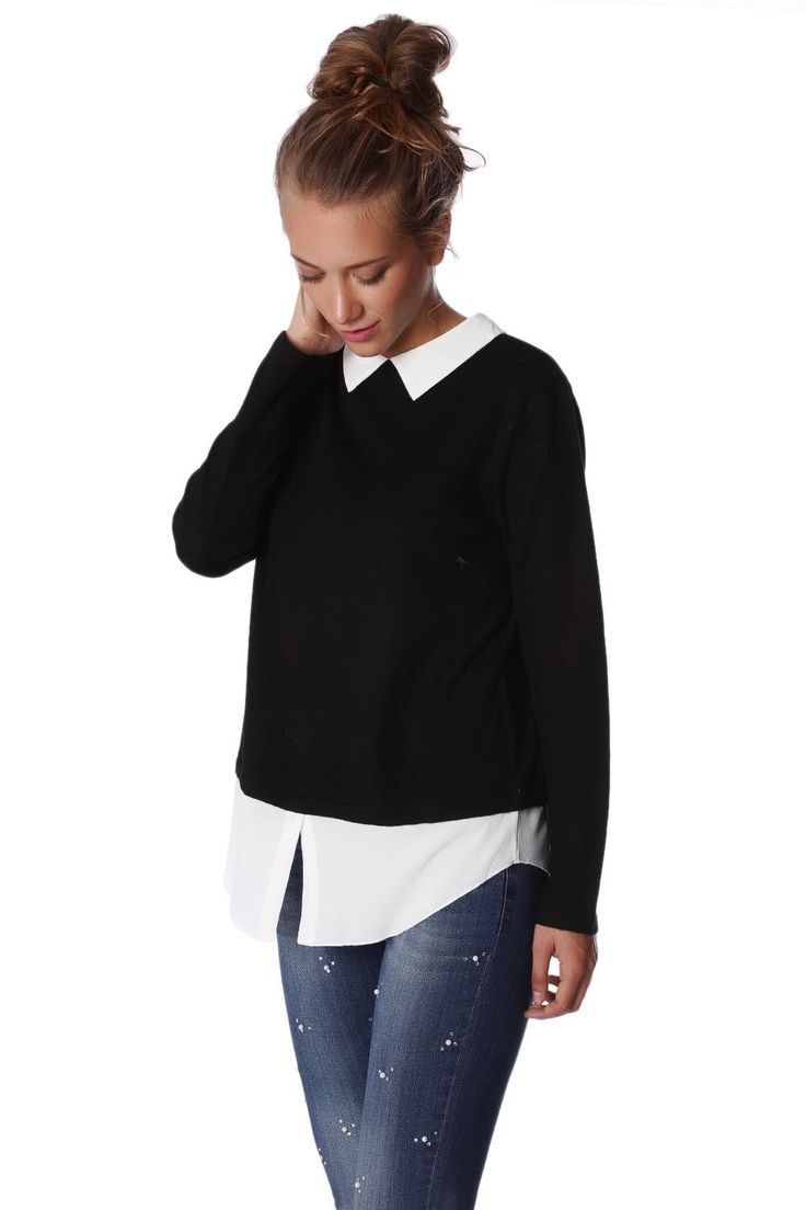 2 In 1 Black Jumper White Shirt
