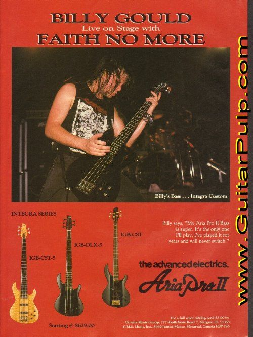 Aria Pro II Guitar Review | ... Faith No More – Aria Pro II Bass Ad available at www.GuitarPulp.com