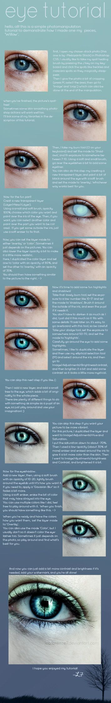 This is a eye photomanipulation walkthrough for one of my pieces, 'Willow'. It was made using Photoshop CS5, but I'm sure later version have the same tools. (: I don't in any way whatsoever claim t...