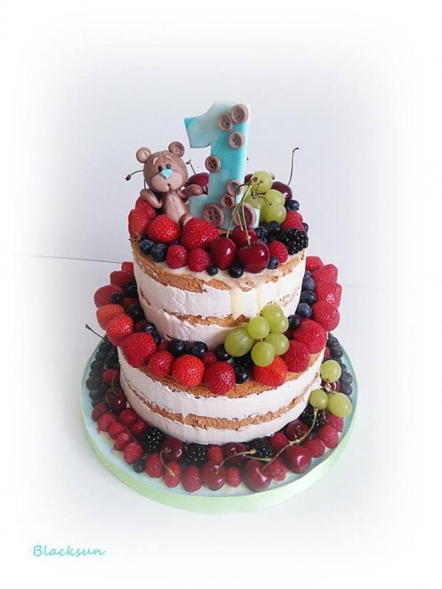 Nahá torta plná ovocia k prvým narodeninám | Autorka: Blacksun | Tortyodmamy.sk