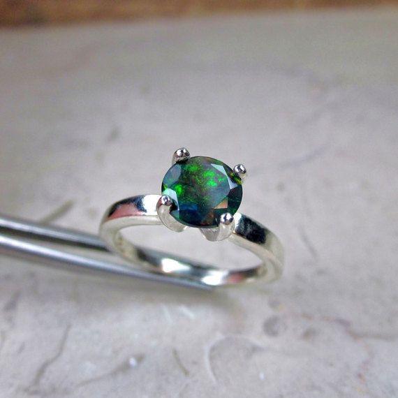 Anillo del ópalo ópalo negro ópalo genuino anillo de