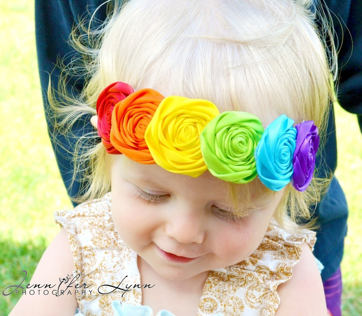 Rainbow Headbands... Baby Girls Headbands... Back to School... Birthday Headbands. $18.95, via Etsy.  <3