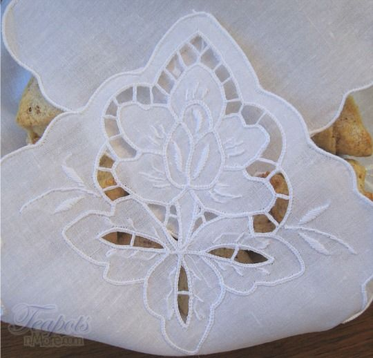 Antique linen tablecloth with filet lace cutwork roses