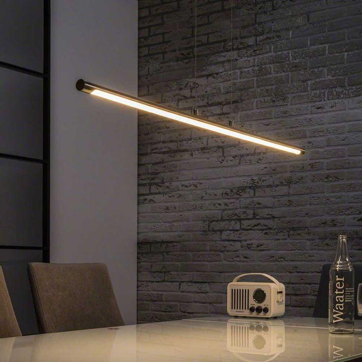 Gradlinige LED Hngelampe Genua In Nickelfarben Aus Metall Wandschalter Dimmbar Exklusives Design Beste Qualitt Jetzt Online Entdecken