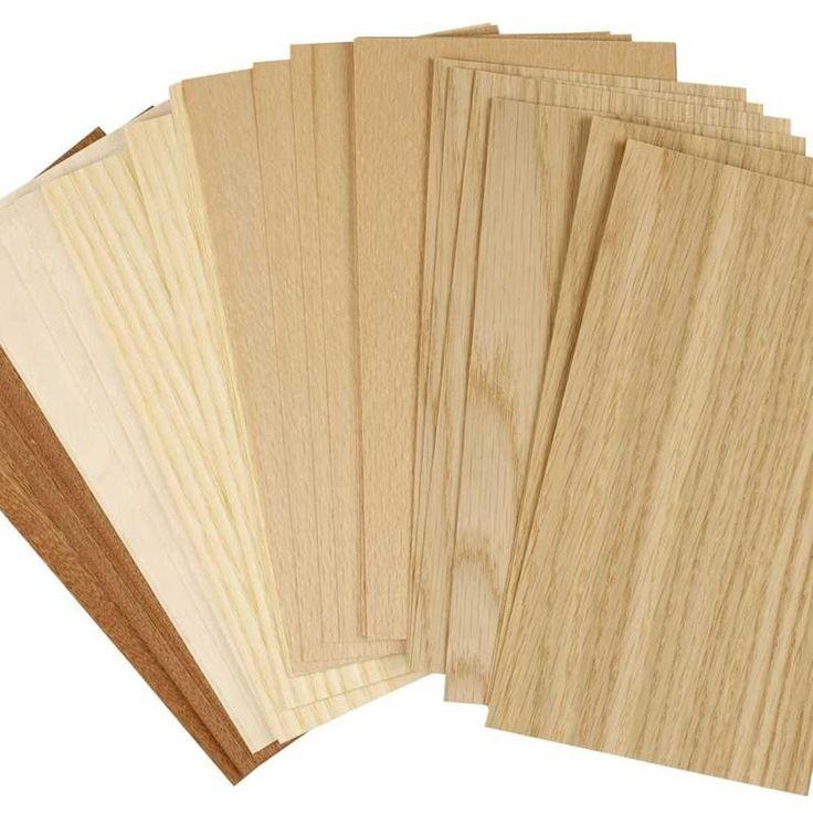 Placage bois, feuille 22x12 cm, hêtre, chêne, acajou, 30 flles assort.