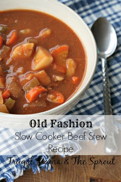 Tasty old-fashion slow cooker beef stew recipe. Frugal and easy, can't beat that!