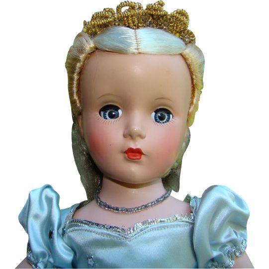 1950-51 Madame Alexander Cinderella Doll Blue Ball Gown Margaret Face All Original