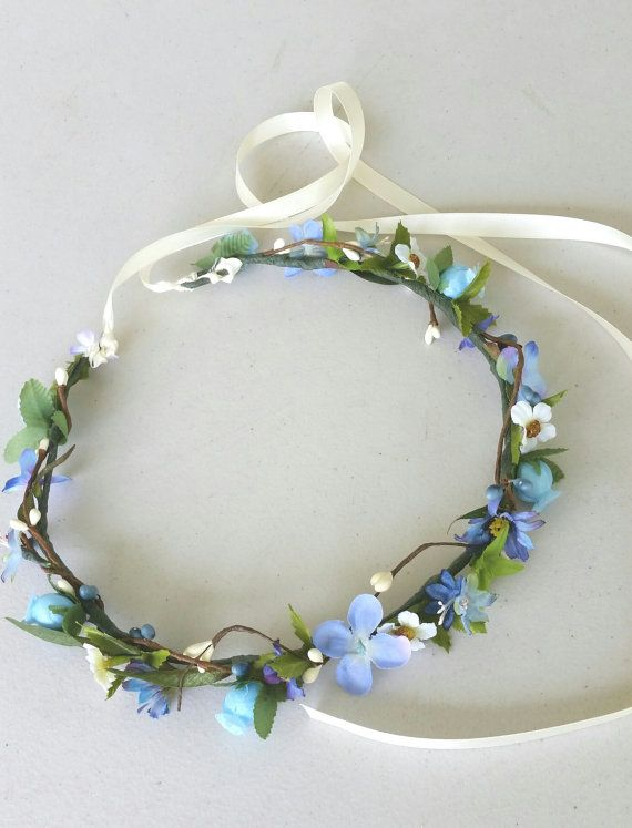 Cornflower blue flower crown periwinkle bridesmaid bridal wedding hair wreath accessories headband fairy flower girl serenity halo